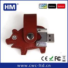 promotional custom leather case gift pig swivel animal shaped usb flash drive