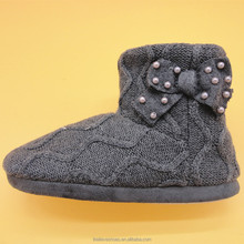 winter warm knit slipper indoor ues weave fabric boots shoes