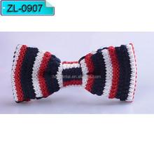 Red blue and white stripe Micro fiber bow tie Fashion bowtie ZL0907