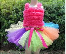 beautiful rainbow dance dress tutu princess dress baby girl party dress children frocks designs