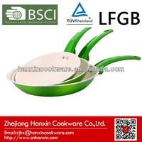 metallic paint coated green frying pan with induction bottom