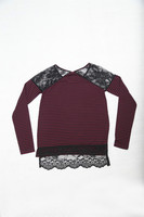 Lace Wine / Black Stripe Mature Women Blouse