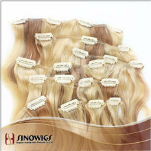 hot sale! whole sale price Indian temple hair top quality 100% human hair clip in hair extension