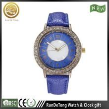 Blue diamond round case roman numberals polygon dial quartz watch tester