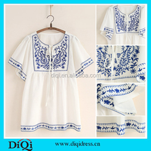 Latest designer blouses white cotton embroidery blouses elegant ladies casual tops blouses 2015