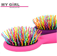 2015 My girl Manufacture Pocket Foldable Hair Brush With Mirror , Plastic Mirror