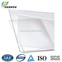 Zhanyu alta transmitancia tablero de acrílico transparente ampliamente utilizado para ventanas muebles con alta calidad