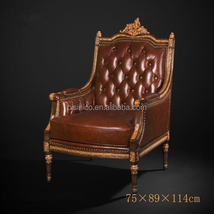 LD-1403-1153.jpg - Antique Royal Style One Seater Sofa, Luxury Gold Painted Genuine