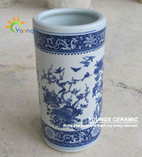 Varied Chinese Blue And White Ceramic Cylinder Floor Standing Vases For Umbrella
