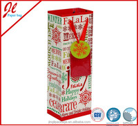 Recycled Paper Bags for Bottle with hot stamping hang tag handle