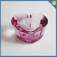 Pink heart shape votive tea light candle holder crystal candle holder
