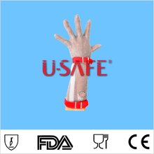 Food grade chain mail metal mesh anti cut food processing long cuff gloves