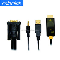 3.5mm audio+usb cable with vga to hdmi converter for notebook,DVD,STB,camera