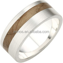 New Fashion Wooden In-Lay Flat Profile Rustic Ring
