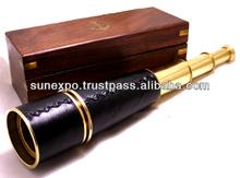 "Admiral's Brass / Leather Spy Glass 18"" - Brass Telescopes / Spyglasses / Binoculars - Nautical Decorative Gift Solid Brass Home"
