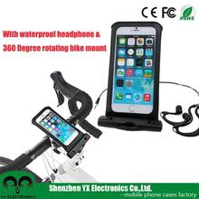 bicycle earphone waterproof cell phone bag with waterproof headphone jack