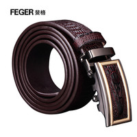 FEGER New Arrival Genuine Leather Mens Slide Buckle Belt Fashion Leather Belt for men