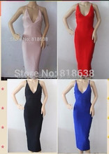 2015 new women top quality best seller nude v neck midi bandage dress white red black blue yellow pink wholesale