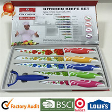 2015 hot sale Non-stick stainess steel kitchen knife with PP handle and gift box