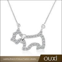 OUXI big discount AAA zircon jewellery dog long chain handmae fashion nacklaces