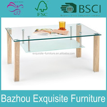 Wood Glass Coffee Table Top Living Room End Furniture Console Storage Shelf Eco