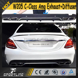 W205 C Class AMG PP Car Rear Bumper + Exhaust Muffler for Mercedes W205 Standard 2015