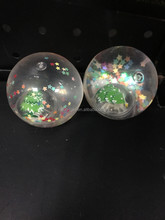 Chirstmas gifts 55mm Light up flashing glitter star Bouncy Ball with Waterr 12pcs per display box