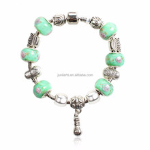 2015 Fashion Wholesale Price Snake Chain Bracelet New Design Charm Bracelet With Beautiful Green Beads Fit Valentine's Day