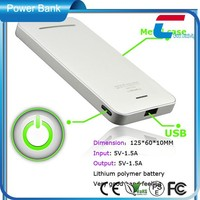 DC5V 1A white thin outdoor portable power bank mental case and exquisite design