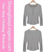 Fashion Casual Scoop Neck Lace Splicing Long Sleeve shirt Cheap Crop Tops Wholesale Women