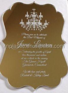Mirror Pmma Plastic Invitations