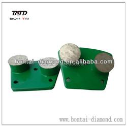 6mm 3 holes double round diamond segments floor grinding shoes for concrete