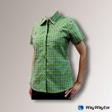 High quallity ladies outdoor plaid short sleeves casual shirt