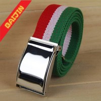 3.8cm national flag fabric canvas webbing belt with plate buckle
