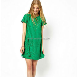 2015 New Arrival Round Neck Lace Loose Casual Mini Dresses for party