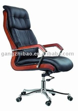 high back PU leather chair wooden arms executive chair of China AB-1104
