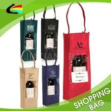 Fancy eco Promotion custom recycle single bottle non woven wine bags