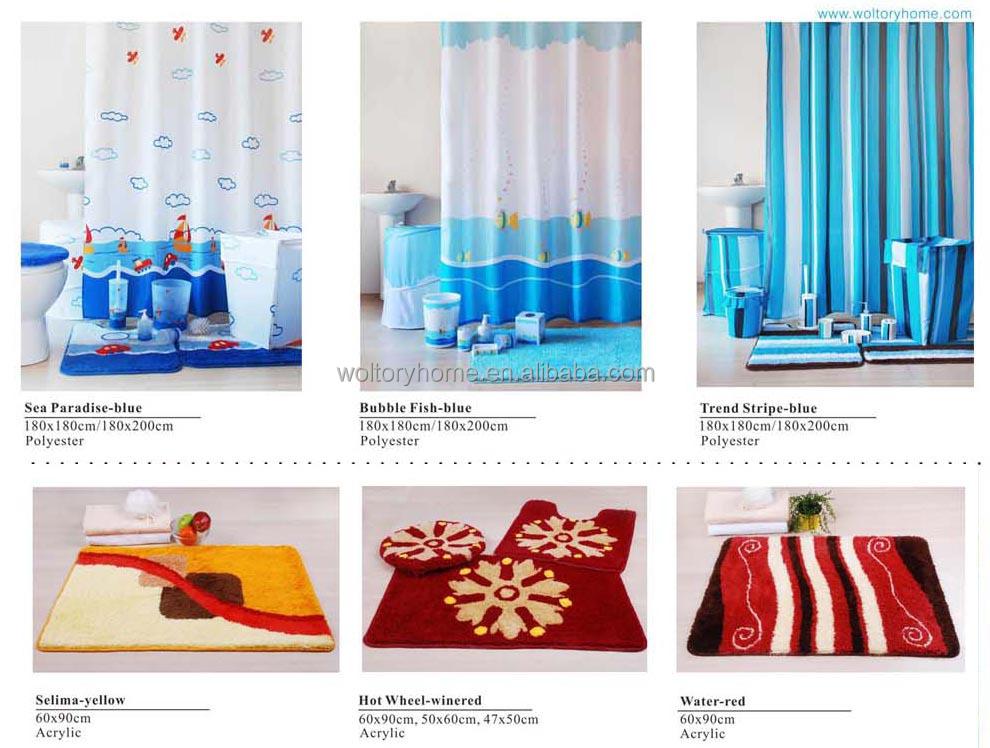 Stripe design shower curtain with bathroom door mat and ceramic bath ...