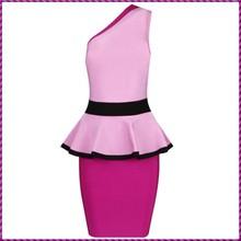 short knitted cocktail bandage fashion one shoulder Formal Dress Patterns