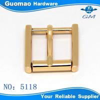 Zinc alloy light gold roller pin buckle for bag