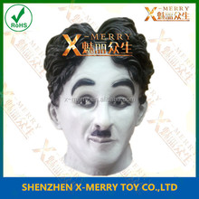 X-MERRY Charlie Chaplin Mask Latex Famous Silent 1920's Actor Face Mask Fancy Party