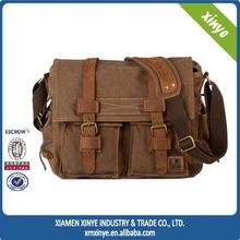 Genuine Leather Messenger Bag Men Retro Unisex Canvas Messenger Bag