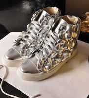 бренд дизайн кружева женщин плоский туфли натуральная кожа цветок платформа женщин кроссовки Черное золото серебро