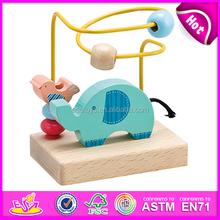 2015 nuevos niños laberinto de madera de juguete, Remolque de madera cadena perlas juguete laberinto, De madera de alambre del jardín del juguete de bolas laberinto popular W11B021