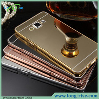 Wholsale Golden Plated Mirror Back Cover Metal Bumper Case for Samsung Galaxy A7