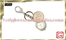 Fashionable zinc alloy Round removable metal keyring watch