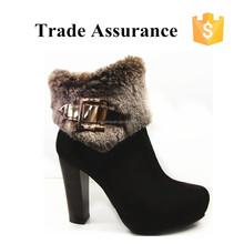 2015 western boots women dark brown high heel boots with fur for ladies