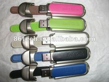 promotional Leather 4GB USB Flash Drive,many colors leather case protection
