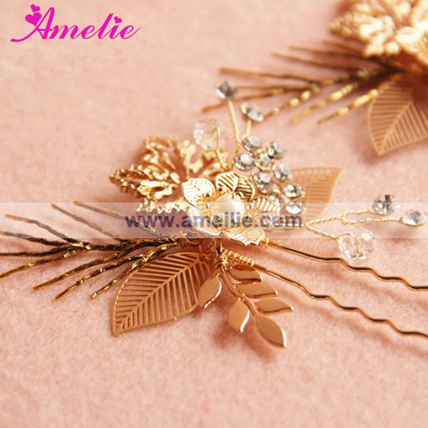 A15007 Rose Gold Plated Coroa De Novia Bride Crown and Hairpins (3).jpg