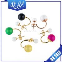 Fashion Colorful Women Double Pearl Earrings Cheap Statement Stud Earring, Wholesale Artificial Bead Earrings Studs Piercing